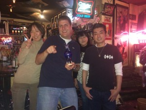 Me at Gina's with the staff and Rumi. All are friends that I knew when I lived in Japan.