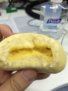 First bun is the sweet yellow bun